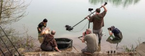 Film crew using a jib crane in France for fishing tackle company JRC