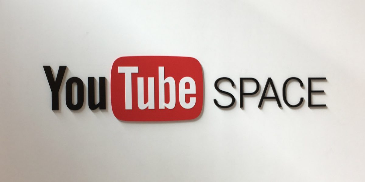 YouTube Space logo on a white wall