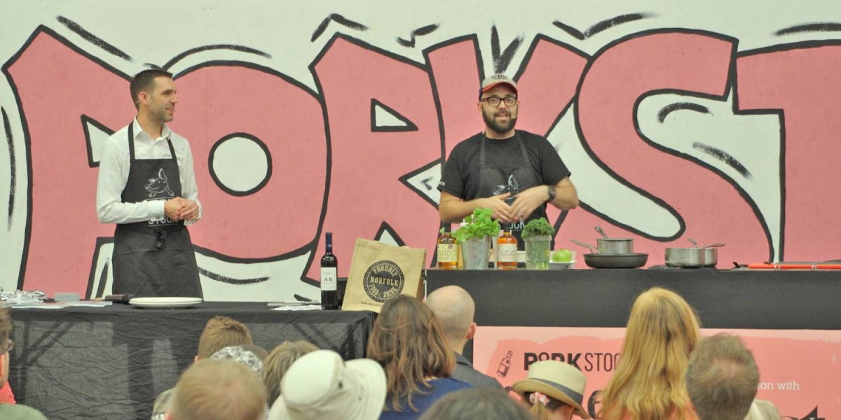 Richard Bainbridge Chef at Porkstock 2018, the Benedicts chef who starred in The Great British Menu gave a demo in Norwich