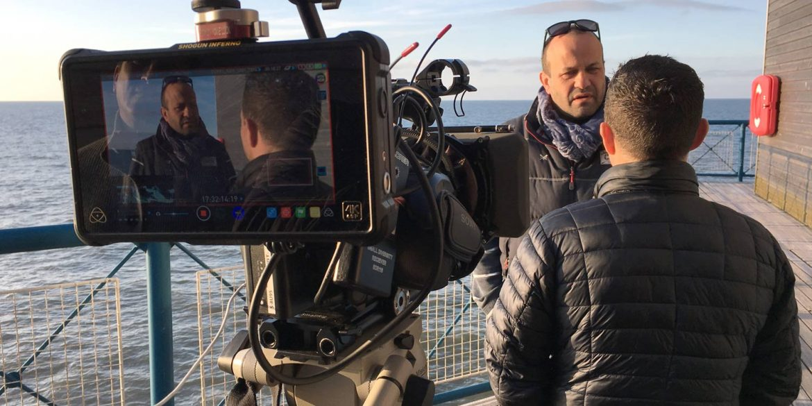 Mental health awareness film being filmed on Cromer pier